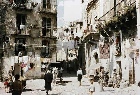 A street scene in Palermo, Sicily, circa 1950s.