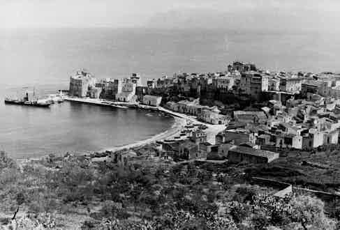 Castellammare del Golfo, a town and commune in the Trapani Province of Sicily. The name roughly translates as 'sea- fortress of the gulf', deriving from the medieval fortress in the harbour.