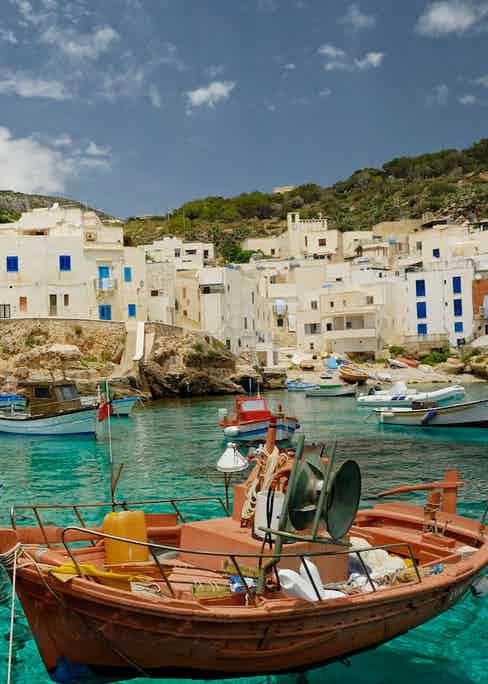 A quaint town in Levanzo, Sicily.