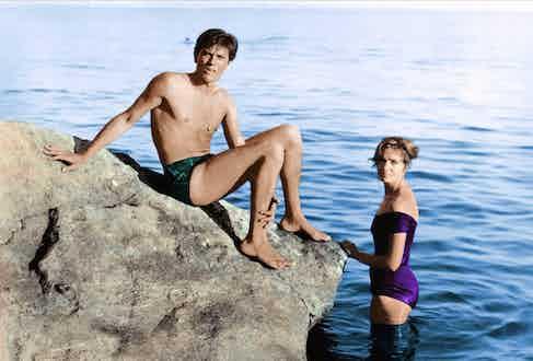 Alain Delon and Marie Laforêt filming Plein Soleil in 1960.