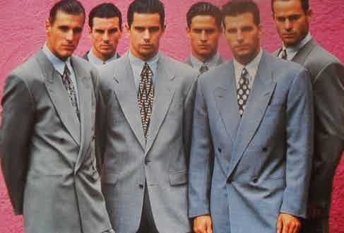 A Hugo Boss campaign circa 1980. During this period, high-end designers like Giorgio Armani also embraced the double-breasted 6x1, and kick-started something of a renaissance of the style.