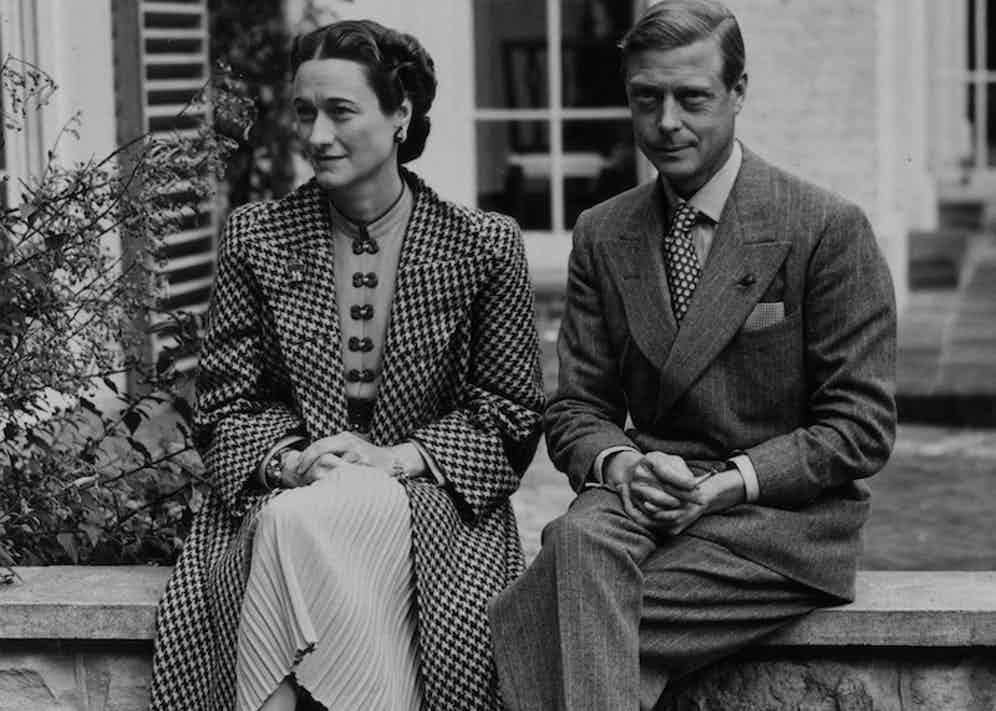 The 1930s are often thought of as the 'golden age' of the double-breasted suit, as exemplified by gentlemen like the Duke of Windsor and Douglas Fairbanks Jr. Here, the former wears pinstripes with his wife Wallis Simpson.