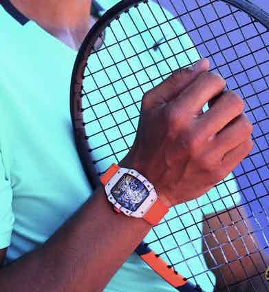 A close up of Rafael Nadal's wrist at the French Open. Photo by Stefano Galuzzi.