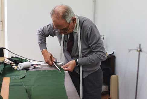 Salvatore Ambrosi in the Naples workroom.