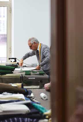 Antonio Ambrosi working on the exclusive trousers for The Rake. Photo by James Munro.