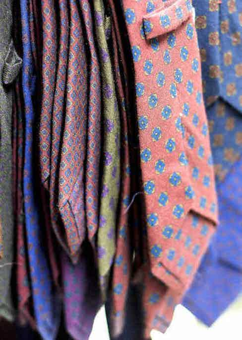Calabrese 1924's signature ties before finishing. Photo by Stéphane Butticé.