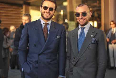 Fabio Attanasio and Massimiliano Caraceni donning typical A. Caraceni tailoring. Fabio wears his buttoned at the centre, whilst Massimiliano's is buttoned at the bottom button. Photo by Eleonora Proietti.