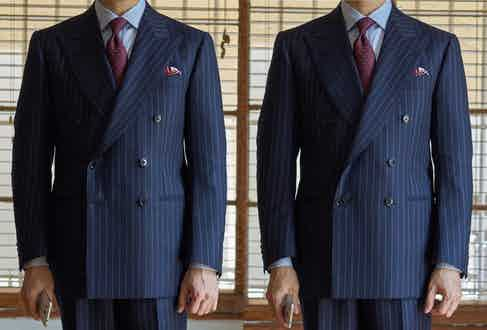 On the left, the suit is buttoned at the centre, creating a more structured silhouette. On the right, the same suit is buttoned only on the bottom row; the lapel rolls back elegantly, creating the illusion of length within the body.