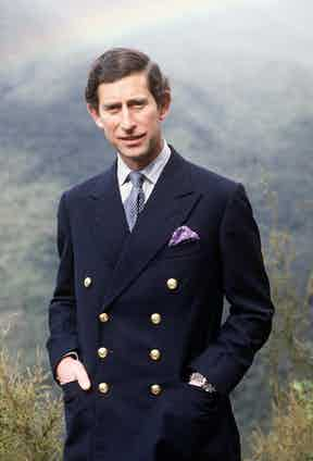 Prince Charles in a double-breasted blazer with naval button detail, circa 1981.