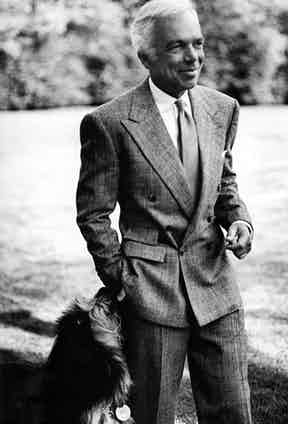 Ralph Lauren wearing a 6x1 glen check double-breasted suit.