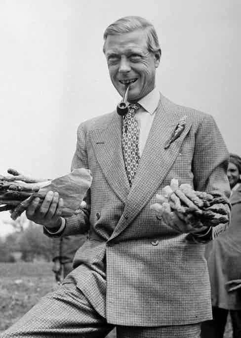 The Duke of Windsor holding asparagus during World War II in 1943. Photo by Peter Stackpole/The LIFE Picture Collection/Getty Images.