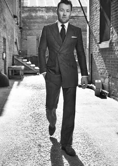 Joel Edgerton wears forest-green double-breasted cashmere suit, Bottega Veneta; white cotton shirt, Budd Shirtmakers; chocolate brown wool tie, Thom Sweeney; white cotton pocket-handkerchief, Emma Willis; tan brown suede shoes, John Lobb. Originally published in Issue 49 of The Rake.