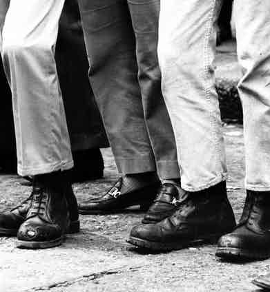 Various styles of Dr. Martens boots worn by a group of skinheads, 1969. Photo by Stefano Archetti/REX/Shutterstock.