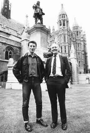Politician Tony Benn with musician Billy Bragg in 1984. Benn was famous for wearing Dr. Martens in an attempt to show empathy with the working classes.
