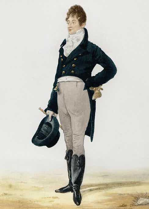 George Brummell rejected the opulence of continental fashions in favour of more sombre fabrics, a limited colour palette and well-fitted coats.