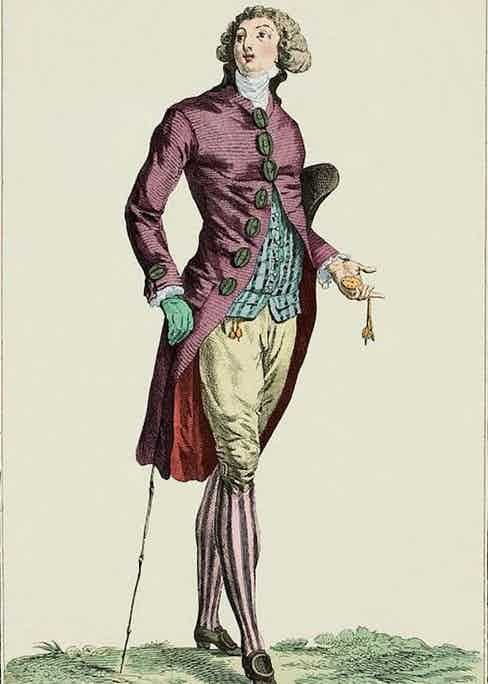 On the other hand, this is what a typical 'fop' in looked like in Georgian London. They wore wigs, make-up, lavish, colourful fabrics, and silk stockings under knee-length breeches.