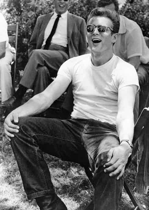 James Dean on the set of Rebel Without A Cause, 1955. Photo by Warner Bros./Kobal/REX/Shutterstock.