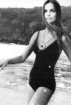 Jean Shrimpton in a bathing suit photographed by David Bailey for US Vogue, 1970.