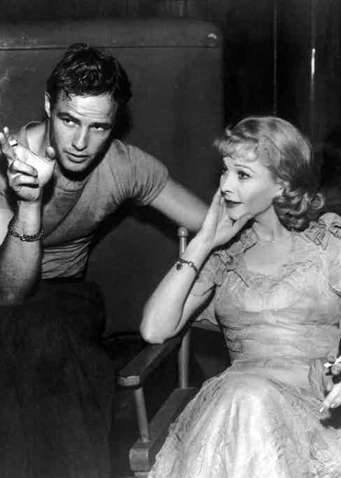 Brando and Hollywood actress Vivien Leigh smoking on the set of A Streetcar Named Desire, 1951.