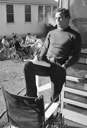 Taking a break from rehearsing for The Men at Birmingham Veterans Administration Hospital, California, 1949.