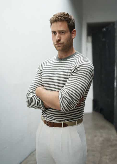 Grey and cream stripe knit jumper, Fujito at Trunk Clothiers; off-white flannel, high-waisted trousers and wedding belt, Anderson & Sheppard.