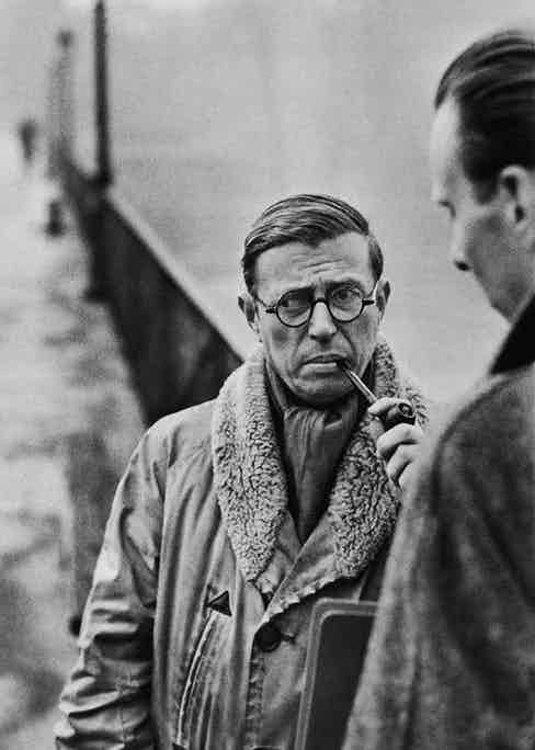 Jean-Paul Sartre photographed by Henri Cartier-Bresson in 1946. He later declined the Nobel Prize he was awarded in 1964.