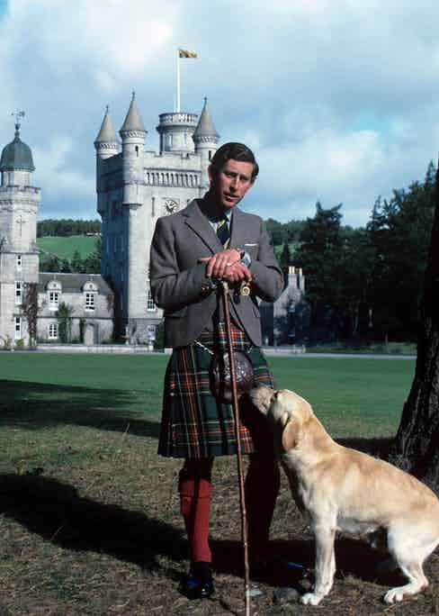 Prince Charles at Balmoral in a traditional kilt, 1978. Photo by REX/Shutterstock.