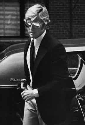 Robert Redford leaving his limo in 1974 by Ron Galella.