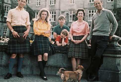 Queen Elizabeth II at Balmoral with Prince Charles, Princess Anne, Prince Edward, Prince Andrew and Prince Phillip.