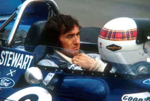Formula 1 champion Jackie Stewart adopted the Royal Stewart tartan and wore it in a band on his helmet.
