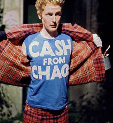 Malcolm McLaren in The Great Rock 'n' Roll Swindle, a 1980 mockumentary about the Sex Pistols, whom he managed.