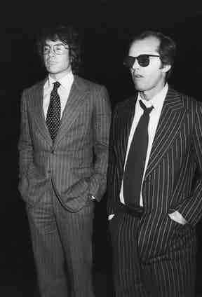 Warren Beatty and Jack Nicholson photographed by Galella in pinstriped suits, Los Angeles, 1978.