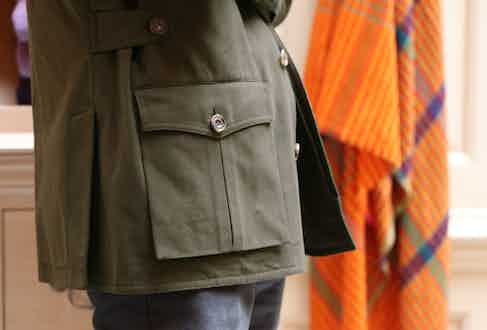 The travel jacket has generous bellows pockets.