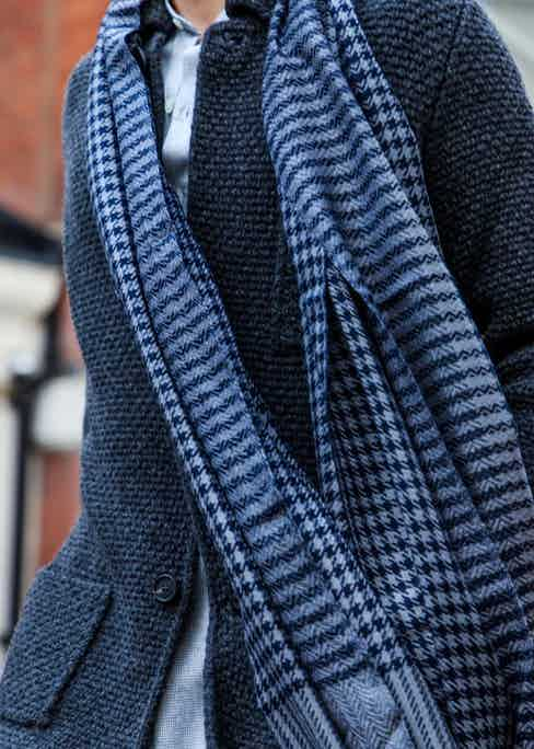 A traditional houndstooth pattern is applied to cashmere scarves for autumn/winter. Photograph by James Munro.