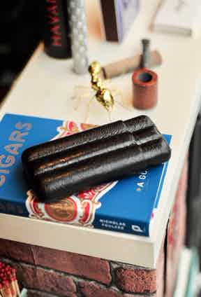 Fallon's three-cigar case made from black ostrich leg. Photo by Justin Hast.