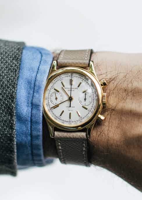 """""""A vintage Patek chrono is one of the most elegant things a man can own,"""" Benjamin says, but that's not the only reason this timepiece deserves attention: it's the only known 1463 to be retailed by Cartier, carrying the signatures of both the French and Swiss houses. It was owned by a woman from the Upper East Side for more than 20 years before Benjamin won it at auction last year."""