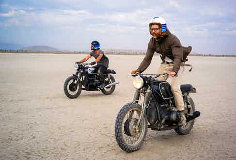 Robert J Sabel with Robert Spangle in the Californian desert.