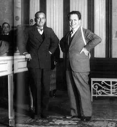 Douglas Fairbanks Sr with Domenico Caraceni, the originator of the transformable double-breasted jacket.
