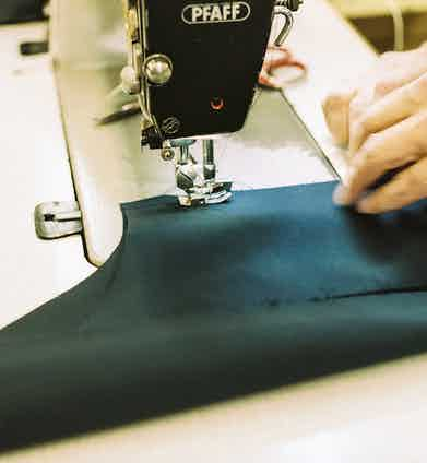 Waterpoof cotton being made into a Baracuta jacket.