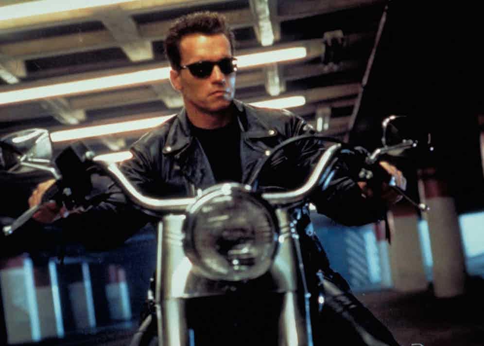 Arnold Schwarzenegger in The Terminator 2: Judgement Day, 1991.