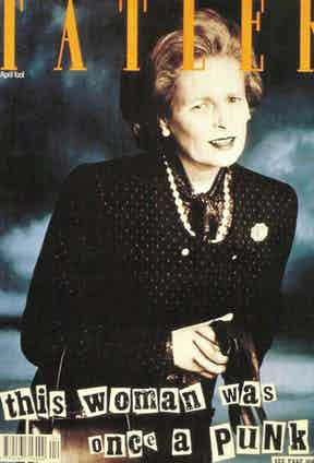 Vivienne Westwood dressed as Margaret Thatcher on the cover of Tatler, 1989.