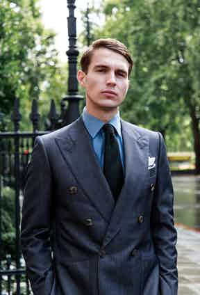 This exclusive Chester Barrie two-piece combines the utilitarian look of denim with sharp tailoring.