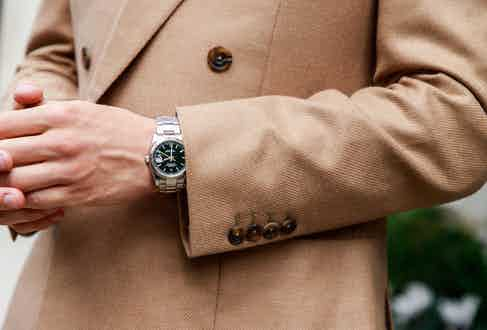 The camel Kingly jacket pairs well with a dark roll neck or white shirt.