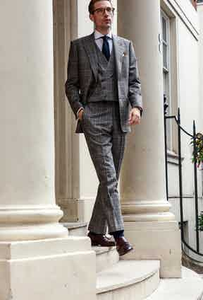 This Chester Barrie suit comes with a matching double-breasted waistcoat.