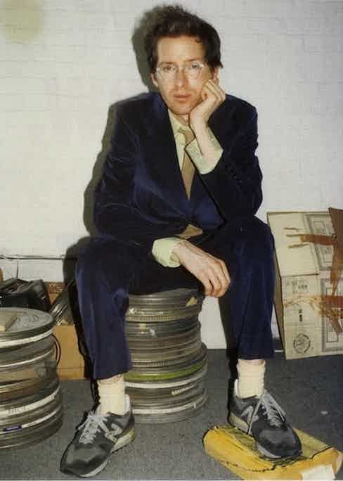 Wes Anderson in his youth, wearing a midnight blue corduroy suit with New Balance sneakers. His taste in colour may have changed (he's most recognisable in a palette of tan, terracotta and ochre), but the director has always worn corduroy on and off set.