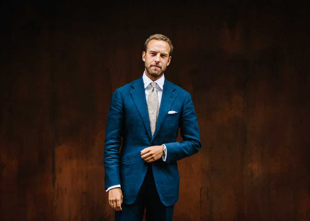 """Most often seen in bespoke or made-to-measure, Andreas has high expectations of his tailoring. """"I was surprised when I found this RTW suit from Ring Jacket. It's made in a heavy Irish linen from Spence Bryson which has a great drape. With full canvas, longer length, a fuller cut through the chest and a high armhole, it fits me better than some of my MTM suits."""""""