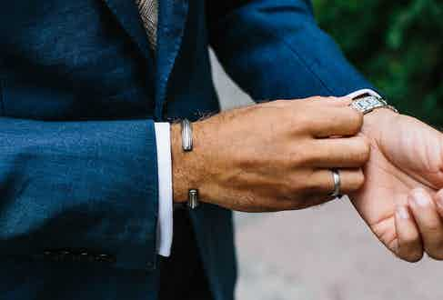 """In line with Andreas' clean-cut aesthetic, he keeps jewellery to a minimum with a simple silver bangle. """"This is a gift from my friend Jacob, who is the co-founder of the Swedish brand All Blues. I've been wearing it pretty much every day for a few years now and, aside from watches, it's the only jewellery I wear."""""""