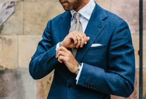 """""""I used to wear a pocket square more often – and in more vibrant colours,"""" Andreas reflects. """"The last couple of years I've preferred something more understated – a white linen hanky like this one from Simonnot Godard does the job."""""""