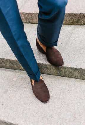 """""""These are a wholecut loafer in dark brown suede with metal toe tips and a personal monogram on the sole, from Carmina's made-to-order selection. They are very versatile so I wear them a lot during spring and summer."""""""