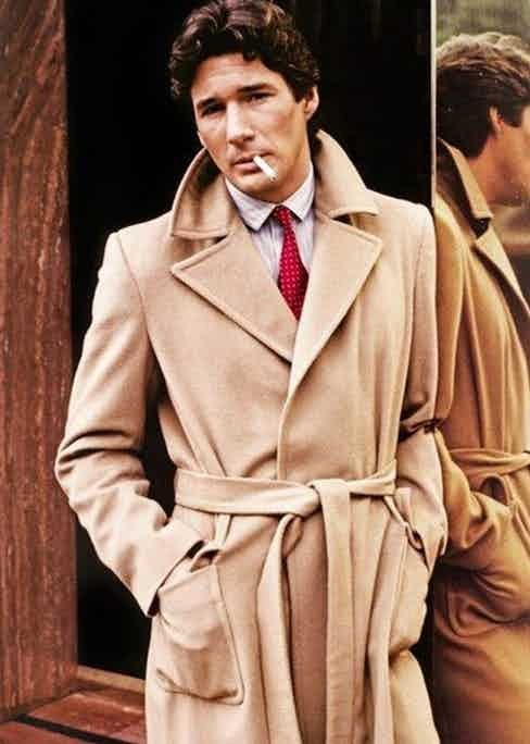 Richard Gere wears a Giorgio Armani wool-blend belted camel trench coat in American Gigolo, 1980.
